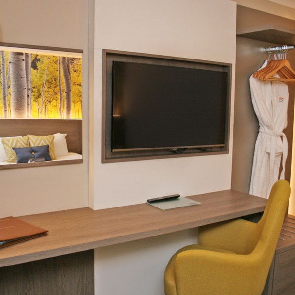 Bespoke Hotel Desk - Yellow Room Accent