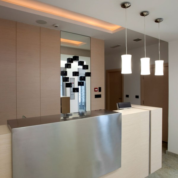Bespoke Hotel Reception Desk - Beech & Metal