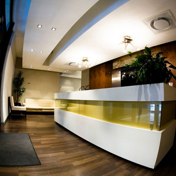 Bespoke Reception Desk - Glass Inset