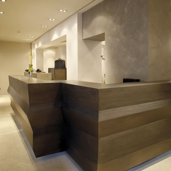 Reception Counter - Dark Wood Elegant
