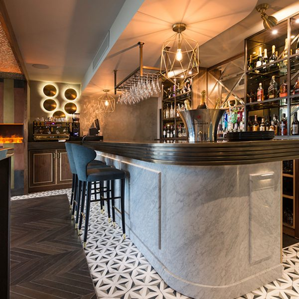 Bespoke Hotel Bar with Real Marble Front