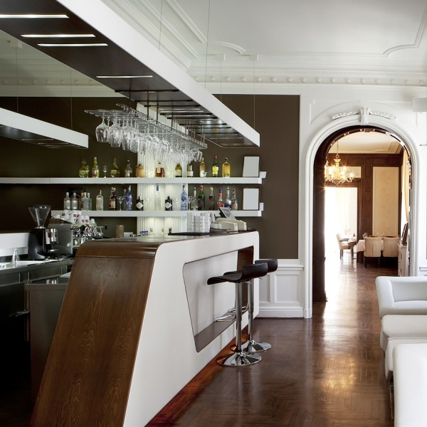Hotel Bar Design White Angled Wood Top