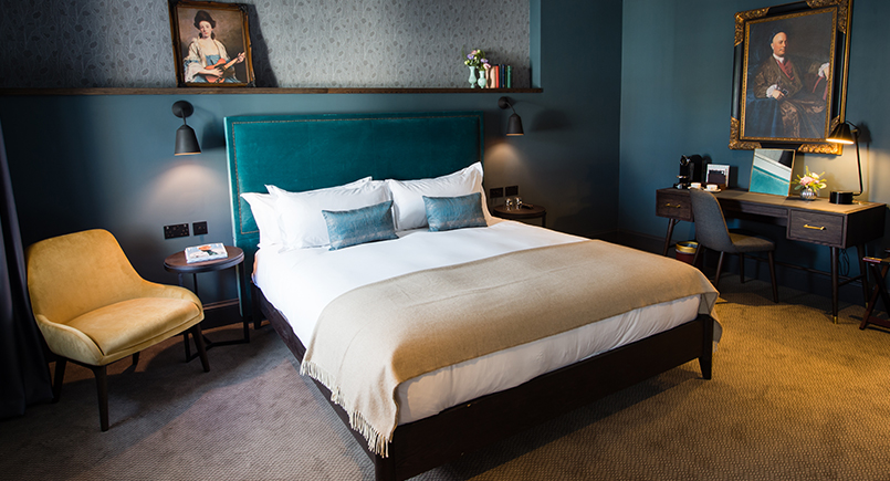 Bespoke teal headboard with detailing for Avon Gorge Hotel