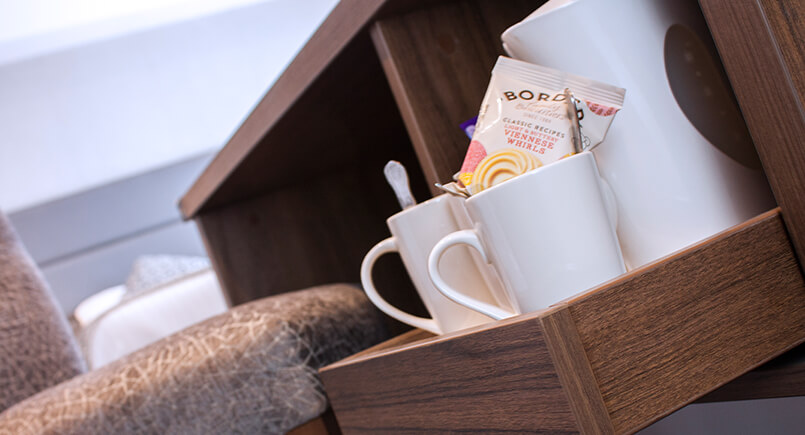 Wooden hotel bedroom pull out tea and coffee draw