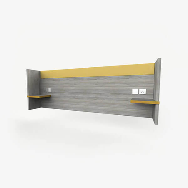 Budget Hotel Headboard with Integrated Shelves - Finn