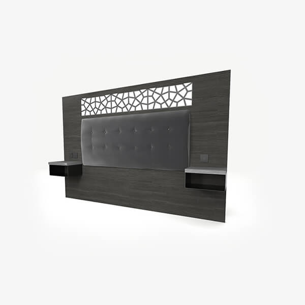 Corporate Hotel Headboard with Integrated Shelves - Mia