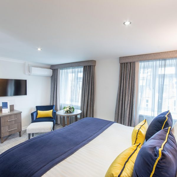 blue and yellow hotel luxury bespoke furniture