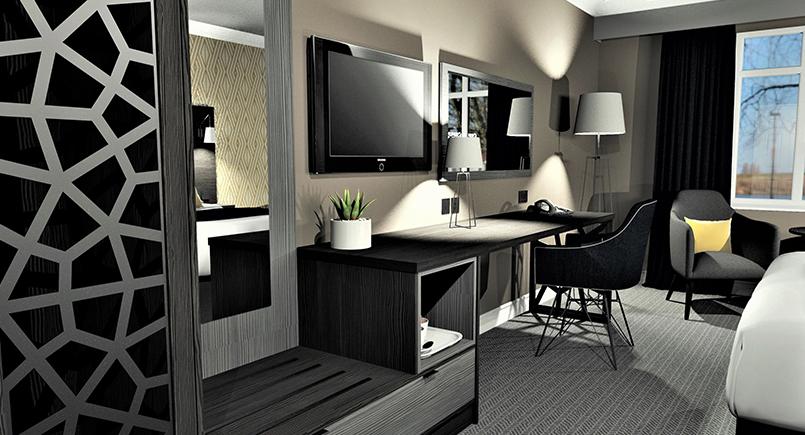 Mia corporate hotel bedroom design with contrasting dark and light casegoods