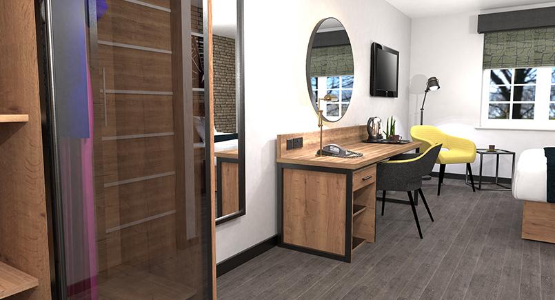 Noah industrial hotel bedroom design with rustic wood effect and black powder coated metal work