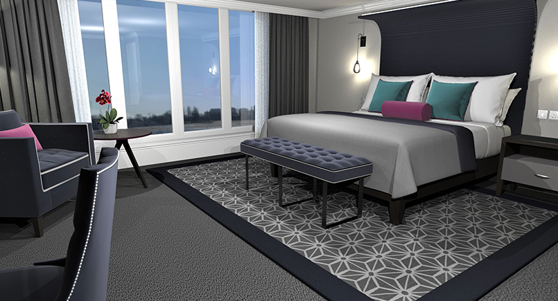 Rosa luxury hotel bedroom design in blue tones with large upholstered headboard