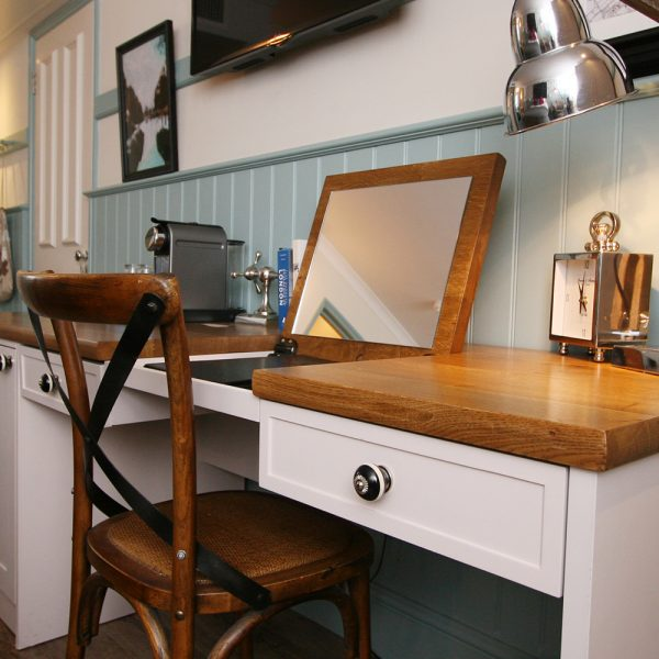 White and Pine Bespoke Desk with Integrated Mirror