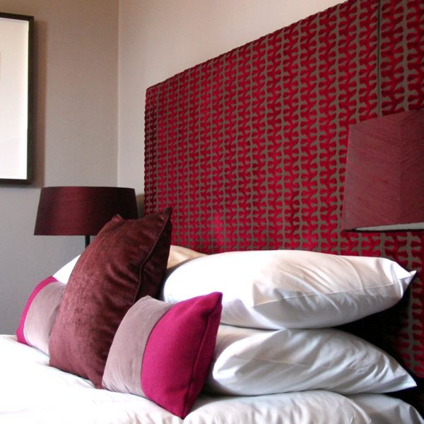 Red Patterned Fully Upholstered Headboard