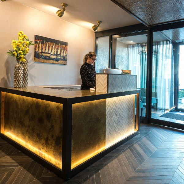Reception Desk - The Seven Hotel with uplighting