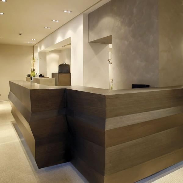 Reception Counter - Dark Wood Elegant