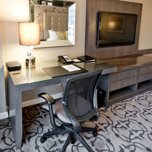 Bespoke Hotel TV Wall & Desk with Four Drawers
