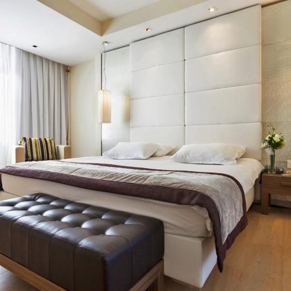 Full Height Upholstered Hotel Headboard with Chunky Leg Case Goods