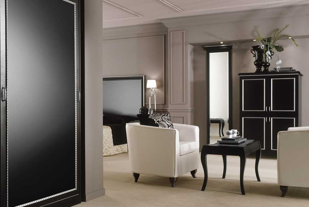 Boutique Hotel Bedroom Furniture - Paris Black with Silver Trim