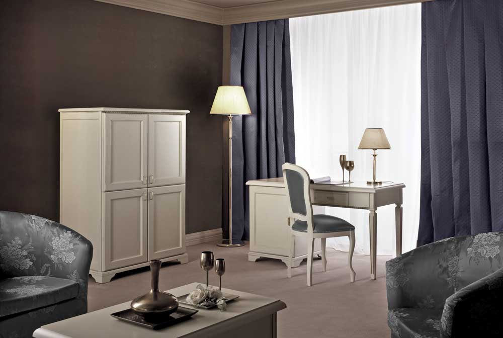 Boutique Hotel Bedroom Furniture - Roma Ivory Silver Trim