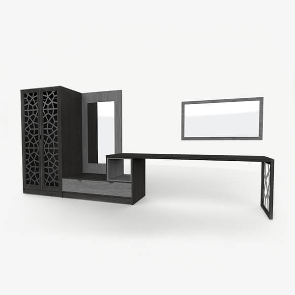 Corporate Hotel Desk with Integrated Shelves & Mirror - Mia