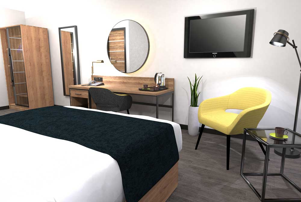 Industrial Hotel Bedroom Furniture - Noah 01