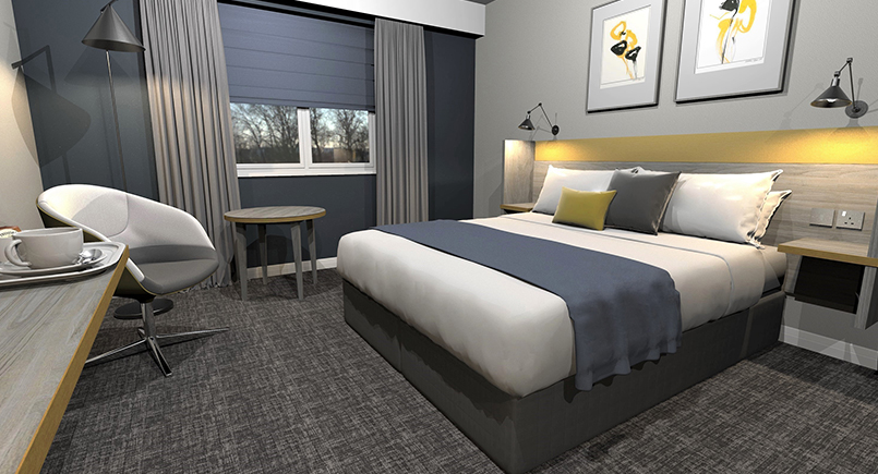 Finn hotel bedroom design with yellow accents