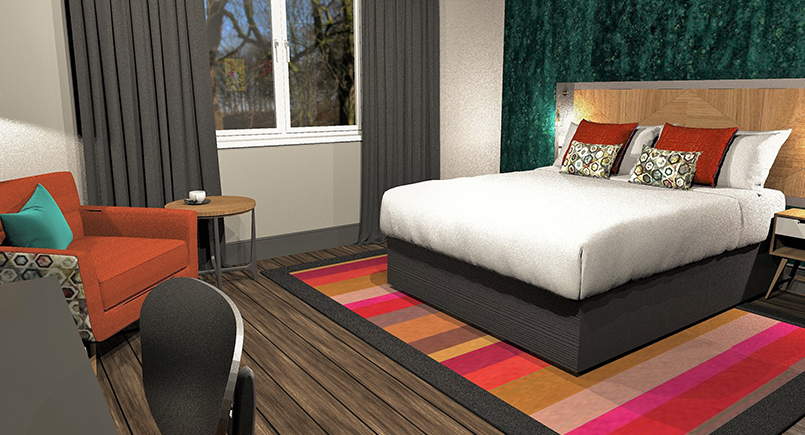 Ruben retro hotel bedroom design with orange and red soft furnishings