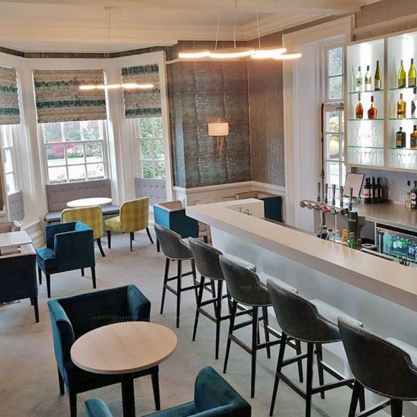 simple white hotel bar