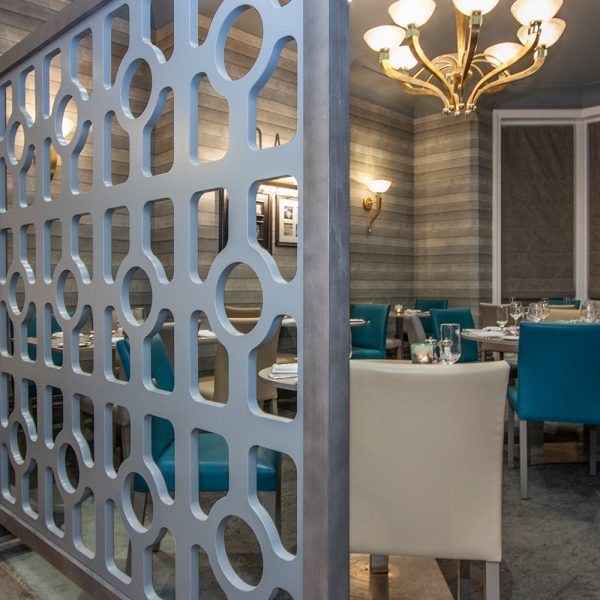 movable wooden and upholstered restaurant screen