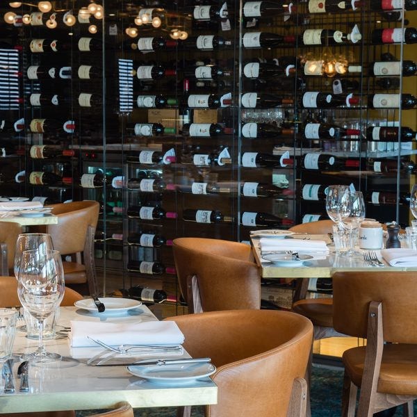 large restaurant wine wall in glass and metal